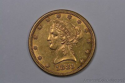 Lustrous 1881 Liberty Head $10 Dollar Eagle Gold Coin Look No Reserve | 0989
