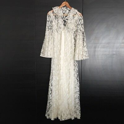 FRANCE Vintage LACE Dressing Gown Robe Lingerie Nightwear INTIMATES