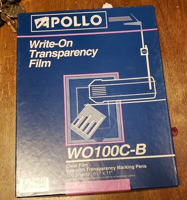 """Apollo Write-On Transparency Film 8.5 x 11"""" Clear 50 Sheets:  WO100C-B"""