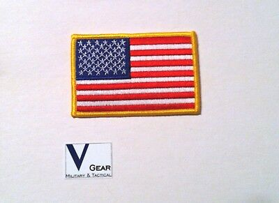 "USA US American Flag Uniform Patch GOLD 3.5"" x 2.25"" *Buy 2 Get 1 Free*"
