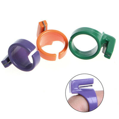 Plastic Sewing Quilting Embroidery Ring Thimble,with Cutting Blade.4 Cols Avail