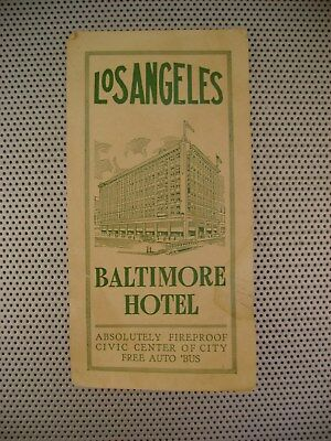 Antique Los Angeles Advertising Travel Folding Brochure~The Baltimore Hotel