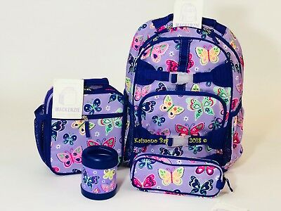 New Pottery Barn Kids Purple Butterfly Large Backpack Lunch Box Thermos Pencil 4