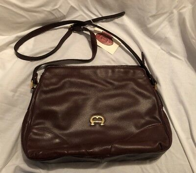 e04984766e6 ETIENNE AIGNER HANDBAG NWT VTG BURGUNDY LEATHER 3 MAIN COMPARTMENTS 80s 90s