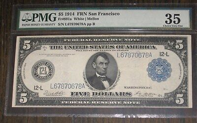 LARGE 1914 $5 DOLLAR BILL SAN FRANCISCO FEDERAL RESERVE NOTE  Fr#891a PMG 35