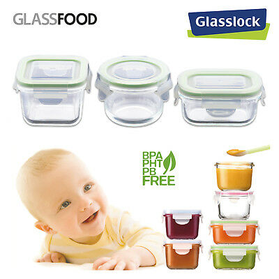 GlassFood - Set de 3 Recipientes Herméticos 3 Formatos Glasslock Baby 150/160/21