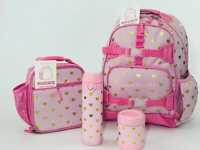New Pottery Barn Kids Pink Gold Hearts Large Backpack Lunch Box Bag NO MONO