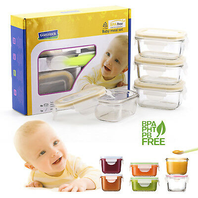 GlassFood - Set de 4 Recipientes Herméticos Baby 150 ml + Cuchara de Silicona