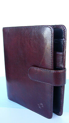 "Compact 1.25"" Rings Burgundy Leather FRANKLIN COVEY OPEN w/Snap Planner/Binder"