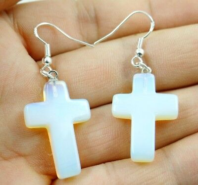 Hand-carved of cross Opalite pendant Gemstone Earrings Sliver Hook B8