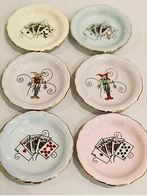 Queen Anne Lady Luck Playing Card Pin Dishes Set Of