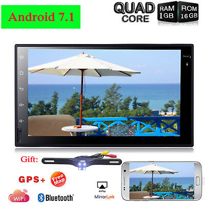 7'' Android 7.1 4G WiFi Double 2DIN Car Radio Stereo Multimedia GPS Navi no-DVD