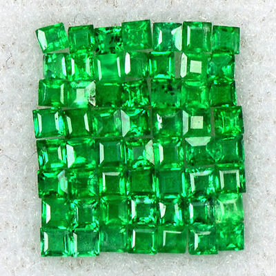 0.77 Cts Natural 1 upto 1.5 mm Emerald Top Loose Gemstone Square Cut Lot Zambia