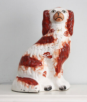 A Large Antique c19th Staffordshire Spaniel Russet and White