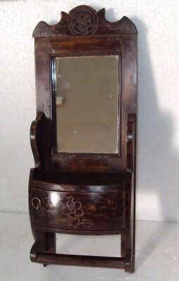 Old Indian Wooden Tribal Hand Crafted Dressing Mirror Frame With Drawer #16
