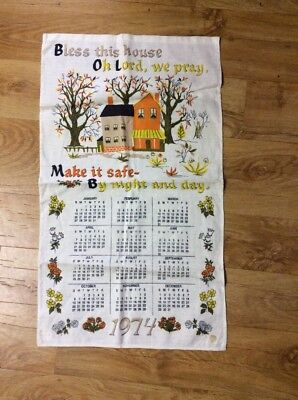 Vintage  Collectable 1974 Bless This House Tea  Towel
