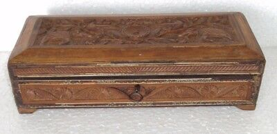 Old Indian Hand Crafted Beautiful Hand Craved Wooden Pen Pencil Box