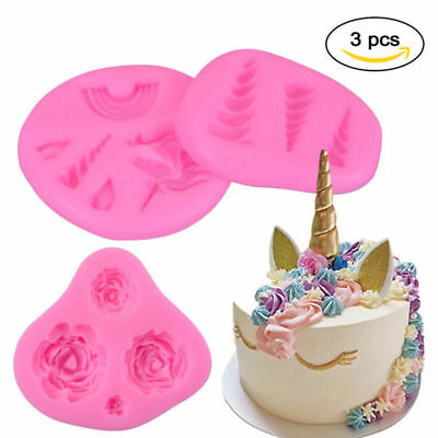 3Pcs DIY Unicorn Mold Helix Horn Rose Flower Mould Silicone Mold Assorted Size