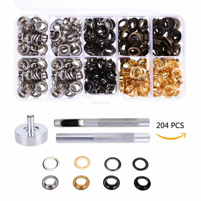 400 Pieces Grommet Metal Eyelet Kit Use in Bags Shoes DIY Projects 4 Colors