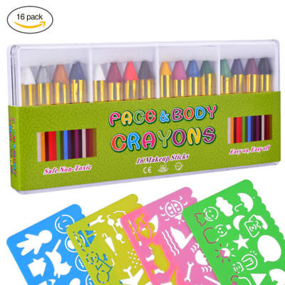Children Paint Set  16 Piece Face and Body Crayons and 4 Piece Painting Rulers
