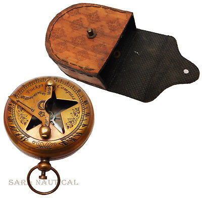 Nautical Style Push Button Brass Antique Nautical Pocket Sundial Marine Compass