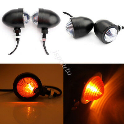 4x Universal Motorcycle Bike Black Metal Bullet Turn Signal Lights Indicators