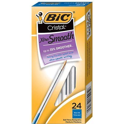 BIC Cristal Xtra Smooth Ball Pen, Medium Point (1.0mm), Blue, 24-Count