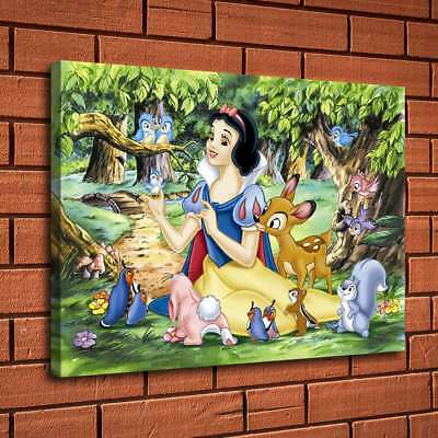 "12""x18""Snow White and Cute Animals Home Decor HD Canvas Print Wall Art Painting"