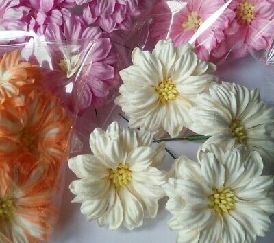 5 Daisy Flower Mulberry Paper Scrapbooking Cards Craft Handmade 55mm more color
