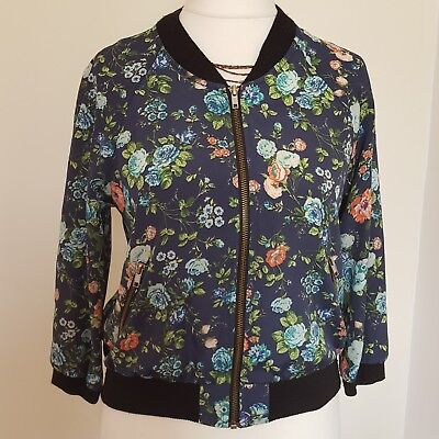 Ladies River Island Floral Pattern Bomber Zipper Navy Blue Blogger Jacket Size10