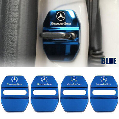 Stainless Steel Car Door Lock Ring Protective Cover For Mercedes Benz-Blue