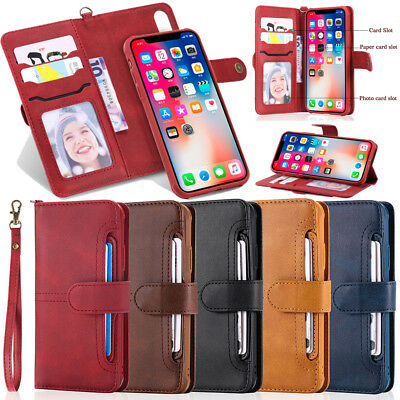Matte Genuine PU Leather Magnetic 2in1 Wallet Purse Case Case For iPhone Samsung