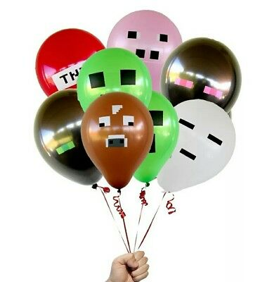 Minecraft Latex Balloon Bouquet 7 pieces Suitable for Helium & Air