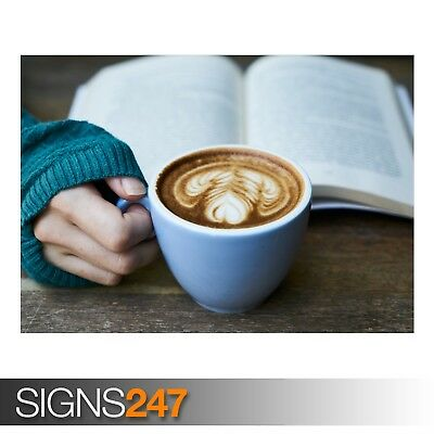 DRINKING COFFEE WHILE READING (AE290) - Photo Picture Poster Print Art A0 to A4