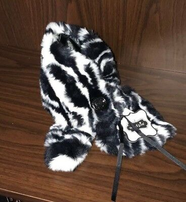 NEW Mud Pie Toddler Baby Girl Zebra White/Black Tunnel Scarfette Scarf Faux Fur