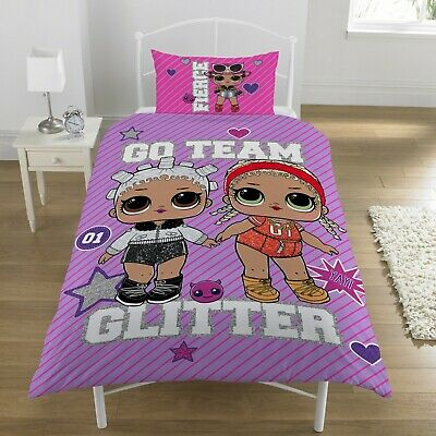 LOL Surprise Glam Dolls Reversible Single Girls Duvet Bedding Set Kids