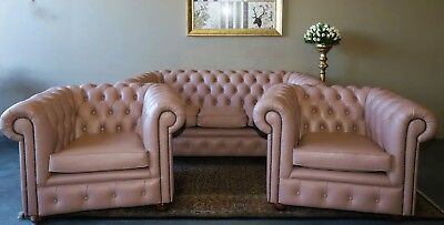 Beautiful 3 Piece Chesterfield Sofa Couch Lounge Suite Tub Chair Armchairs