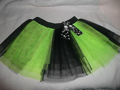 6 Wholesale Girls Black/neon Netting Tutu Skirt 4-7Yr.dress-Up Party Halloween.