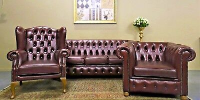 Divine 3 Piece Chesterfield Sofa Couch Lounge Suite Wing Armchair & Tub Chair