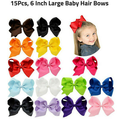15 Pcs Hair Bows Girls Ribbon Lot 6 Inch X Large Alligator Clips Mix Colors NEW!
