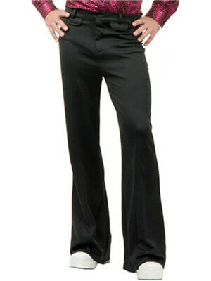 Adult Mens 70s Disco Leisure Black Polyester Pants