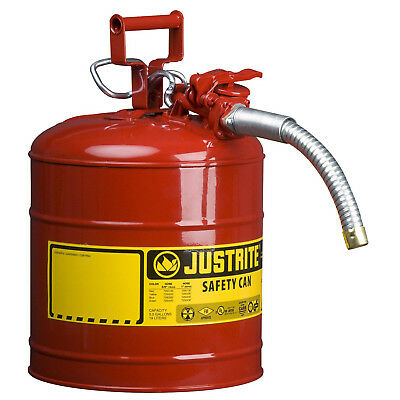 """Justrite AccuFlow Type II RED SAFETY CAN 7.5Ltr Galv Steel Jerry Can w 1"""" Spout"""