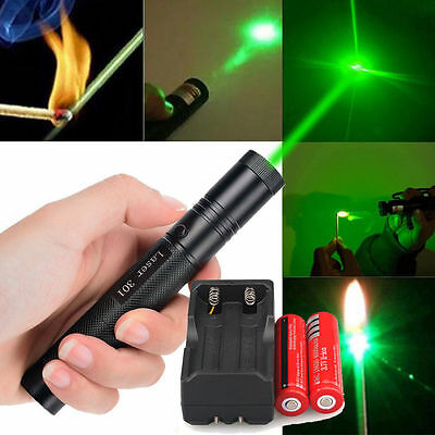 Military 532nm 5mw Green Laser Pointer Lazer Pen Beam + 18650 battery + Charger