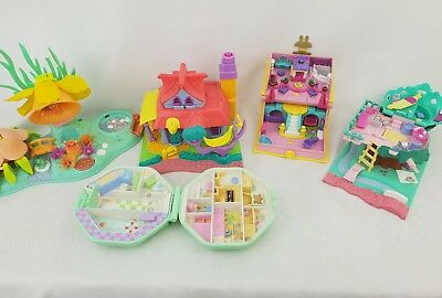 Vintage Polly Pocket Bundle 5 × compacts , houses ,  cases ; By bluebird toys