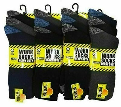 New 12 Pairs Mens Ultimate Work Boot Sock Size 6-11 Cushion Sole - black work