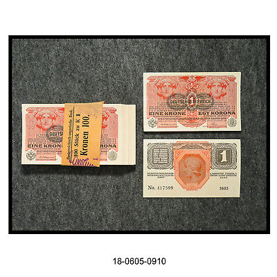Lot of 100 1916 Austrian 1 Krone Overprint Bank Notes (With Bank Strap)