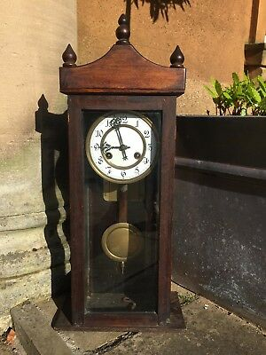 ANTIQUE Victorian Ting Tang Wall or Mantel CLOCK,Enamel Dial,Face,COUNTRY HOUSE