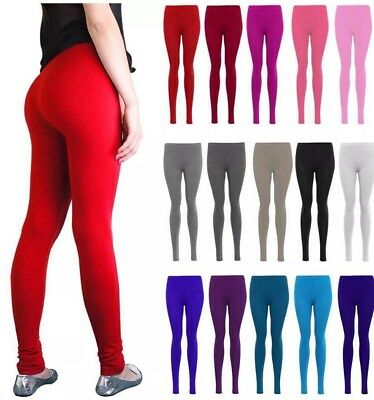 Womens New Ladies Full Length Plain Colour & Black Soft Stretch Leggings Pants