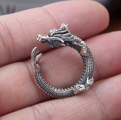 DRAGON RING 92.5 STERLING SILVER RED GEMSTONE SZ 10 HANDMADE magic mythical wrap