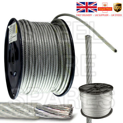 Stainless Steel Wire Rope cable 2mm 3mm 5mm thickness PVC coated FREE DELIVERY
